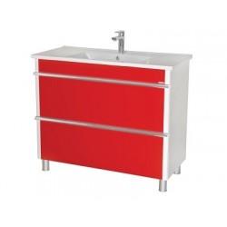 Шкаф (напольный) Париж 100 красный с мебельным умывальником ARTE 100