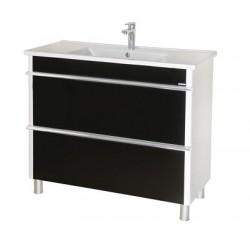 Шкаф (напольный) Париж 100 черный с мебельным умывальником ARTE 100