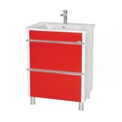 Шкаф (напольный) Париж 65 красный с мебельным умывальником ARTE 65