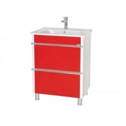 Шкаф (напольный) Париж 75 красный с мебельным умывальником ARTE 75