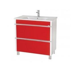 Шкаф (напольный) Париж 85 красный с мебельным умывальником ARTE 85
